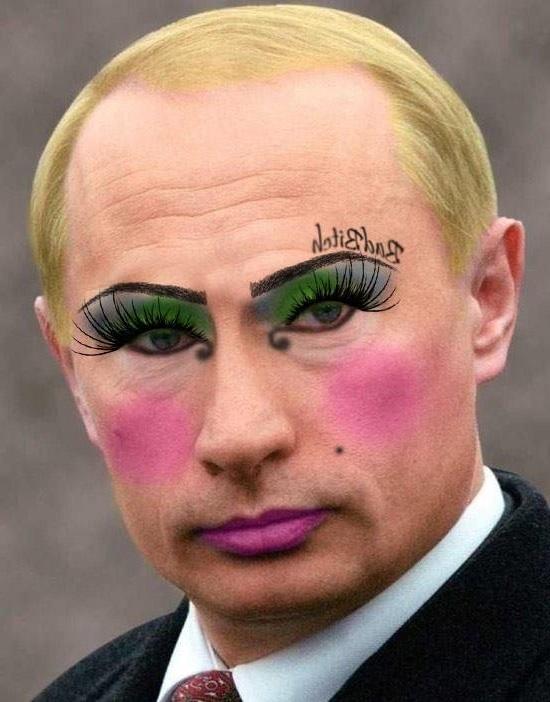 Отредактированное путина с макияжем похабщиной